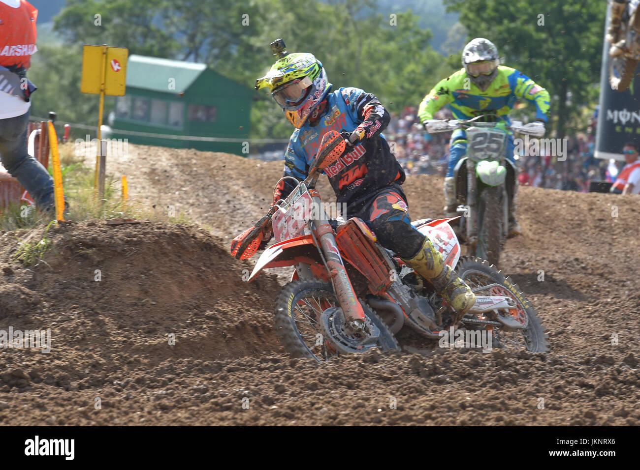 Loket, Czech Republic. 23rd July, 2017. L-R Antonio Cairoli (Italy) and Clement Desalle (Belgium) race during the Stock Photo