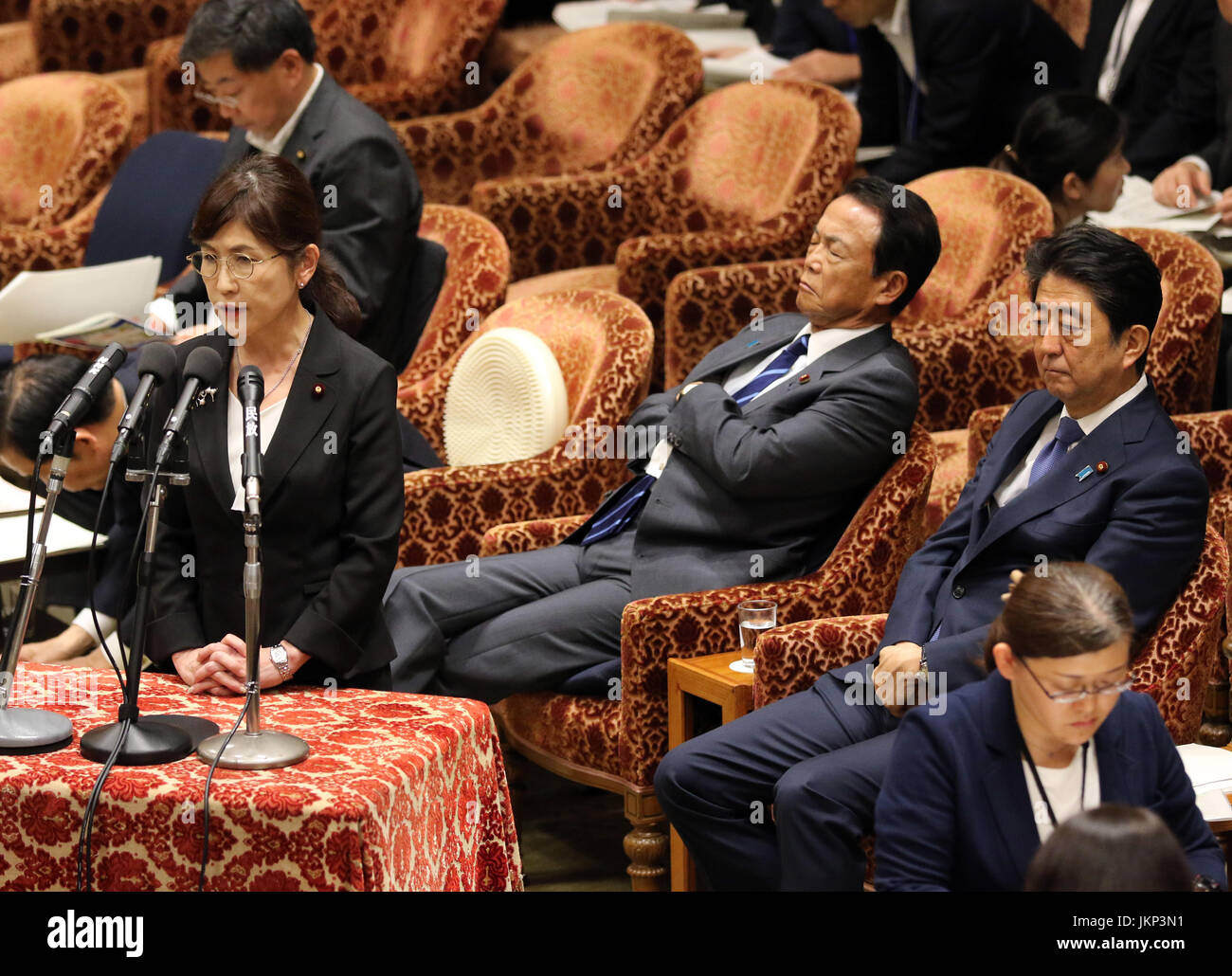 Tokyo, Japan. 24th July, 2017. Japanese Defense Minister Tomomi Inada (L) answers a question to an opposition lawmaker - Stock Image