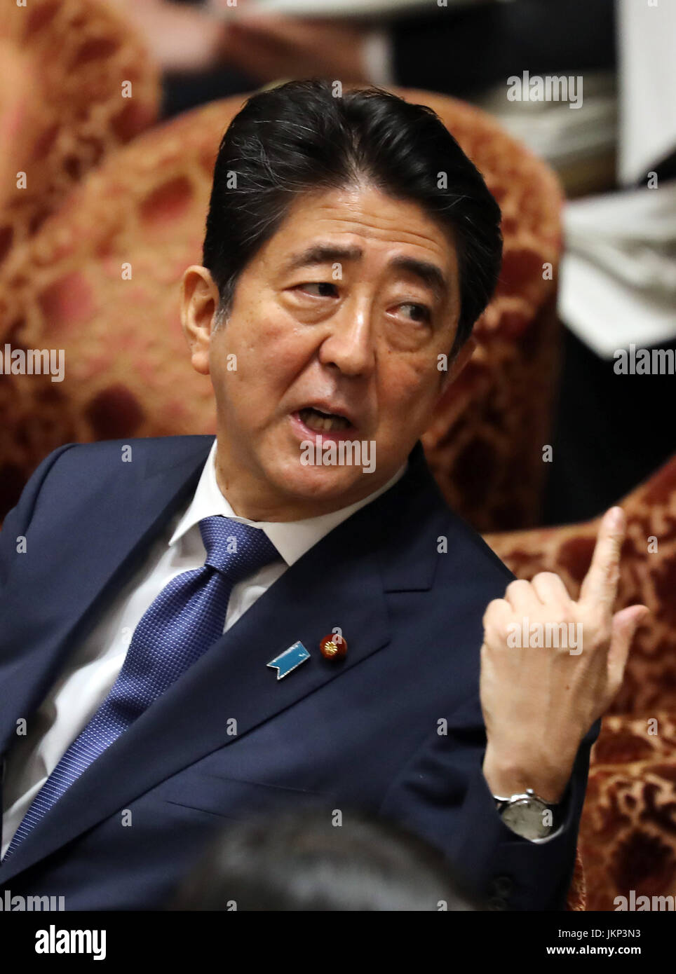 Tokyo, Japan. 24th July, 2017. Japanese Prime Minister Shinzo Abe reacts histo a question by an opposition lawmaker - Stock Image