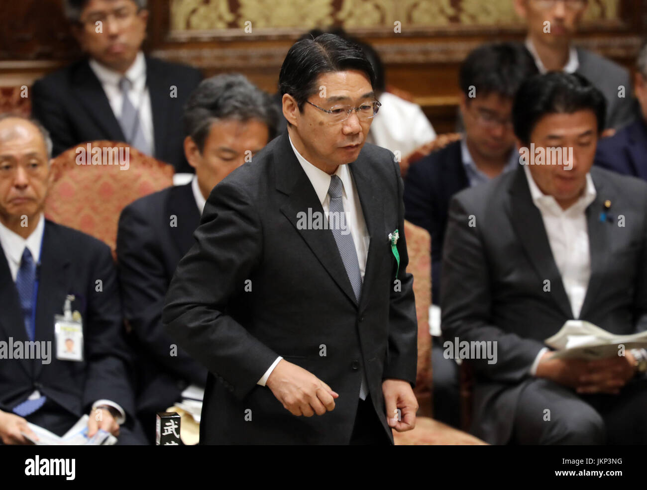 Tokyo, Japan. 24th July, 2017. Former Japanese Education Minister Kihei Maekawa answers a question to an opposition - Stock Image