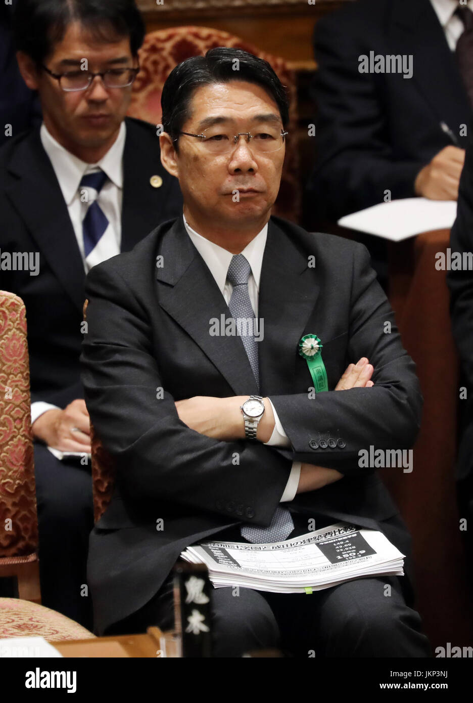 Tokyo, Japan. 24th July, 2017. Former Japanese Education Minister Kihei Maekawa listens to a question by an opposition - Stock Image