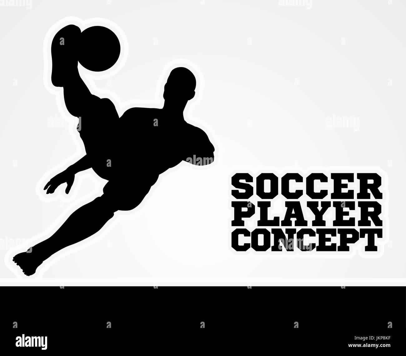 Soccer Football Player Concept Silhouette - Stock Vector
