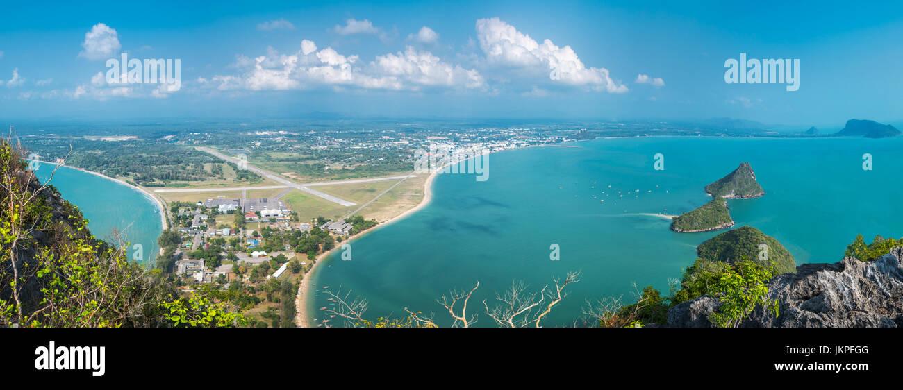 Island panorama view of Ao Manao bay sea scape in Prachuap Khiri Khan, Thailand - Stock Image