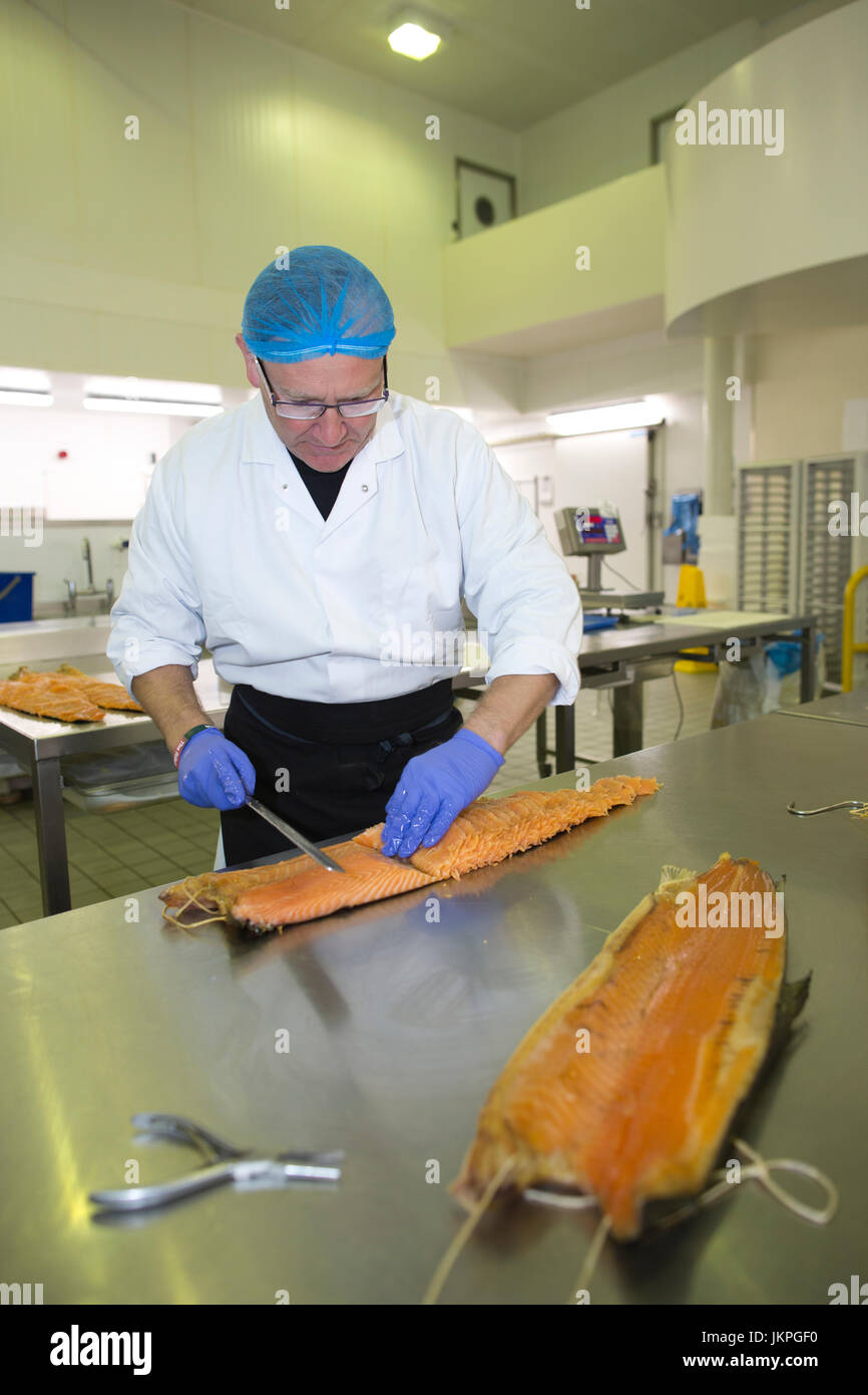 East End salmon smokehouse, H Forman & Son's, which has recently been awarded Protected Geographical Indication(PGI) - Stock Image