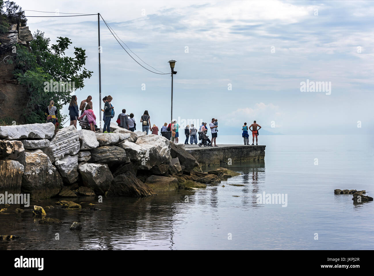Dull day at Golden Beach Thassos. - Stock Image