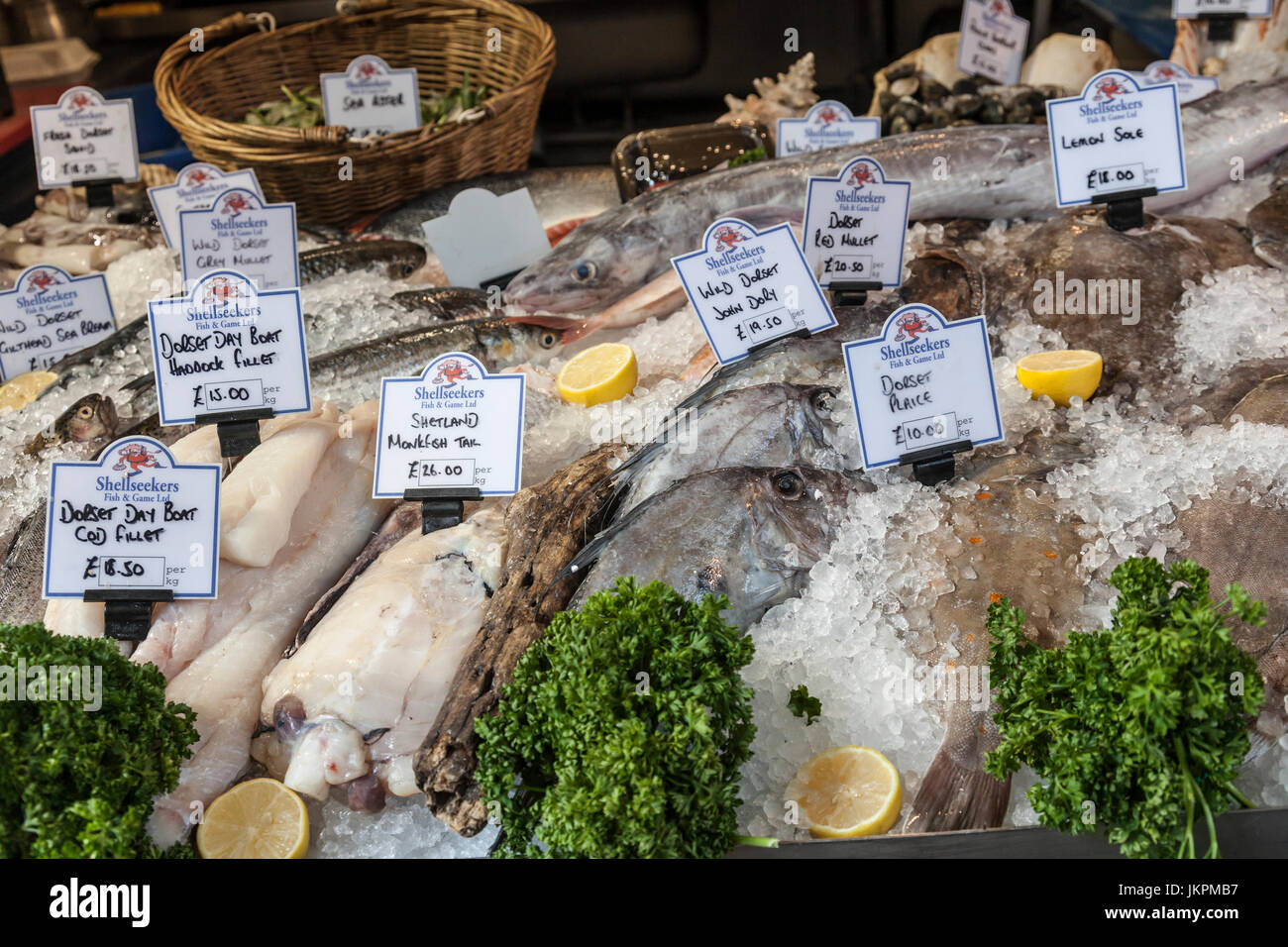 Small section of the Shellseekers wet fish stall at the famous and historic Borough Market in Southwark, London, - Stock Image
