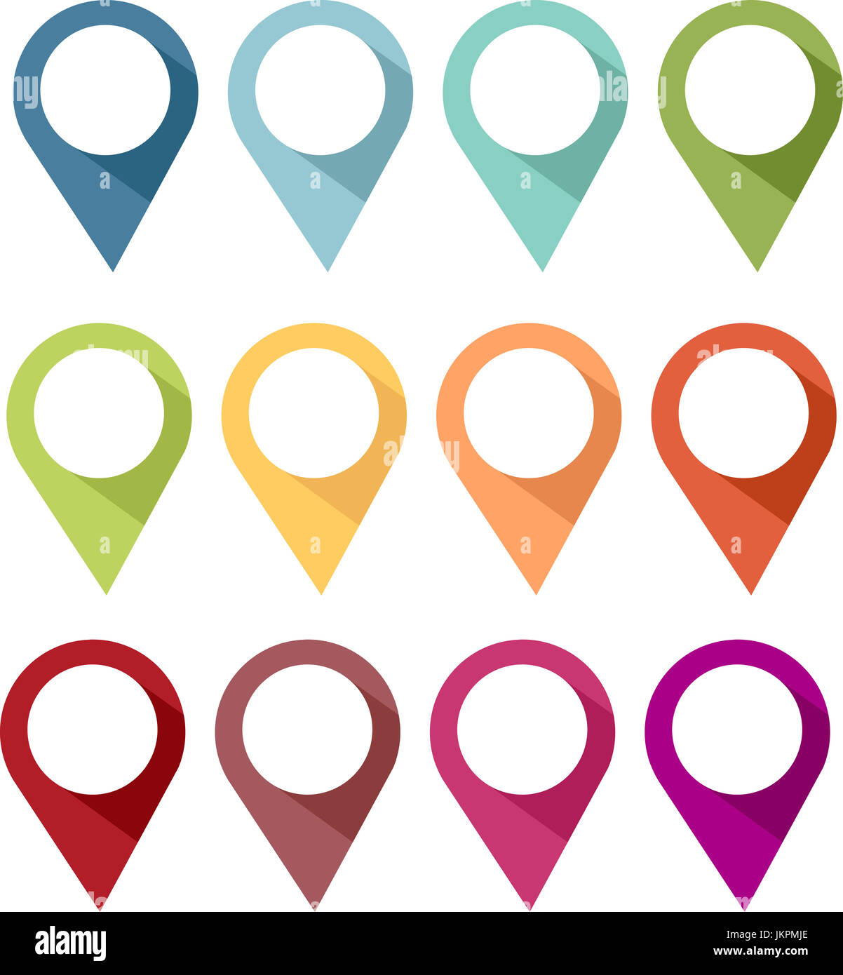 Colorful pins icon for locating, reporting, or indicating a location, location, or action - Stock Image
