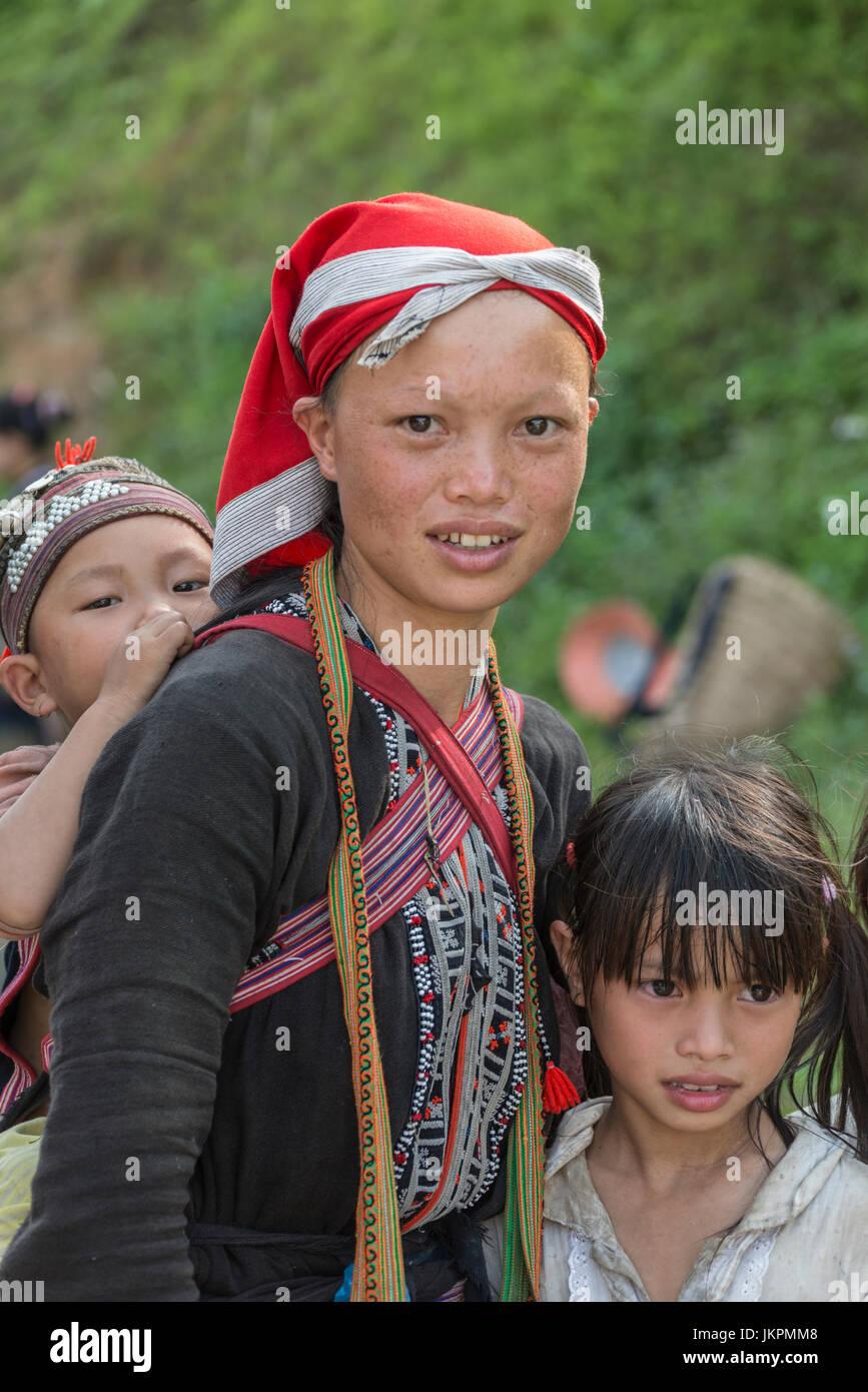 Red H'mong tribe girl at Sapa, northern Vietnam - Stock Image