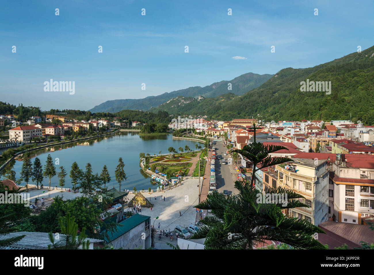 Scenic view of Sapa lake and town northern Vietnam - Stock Image