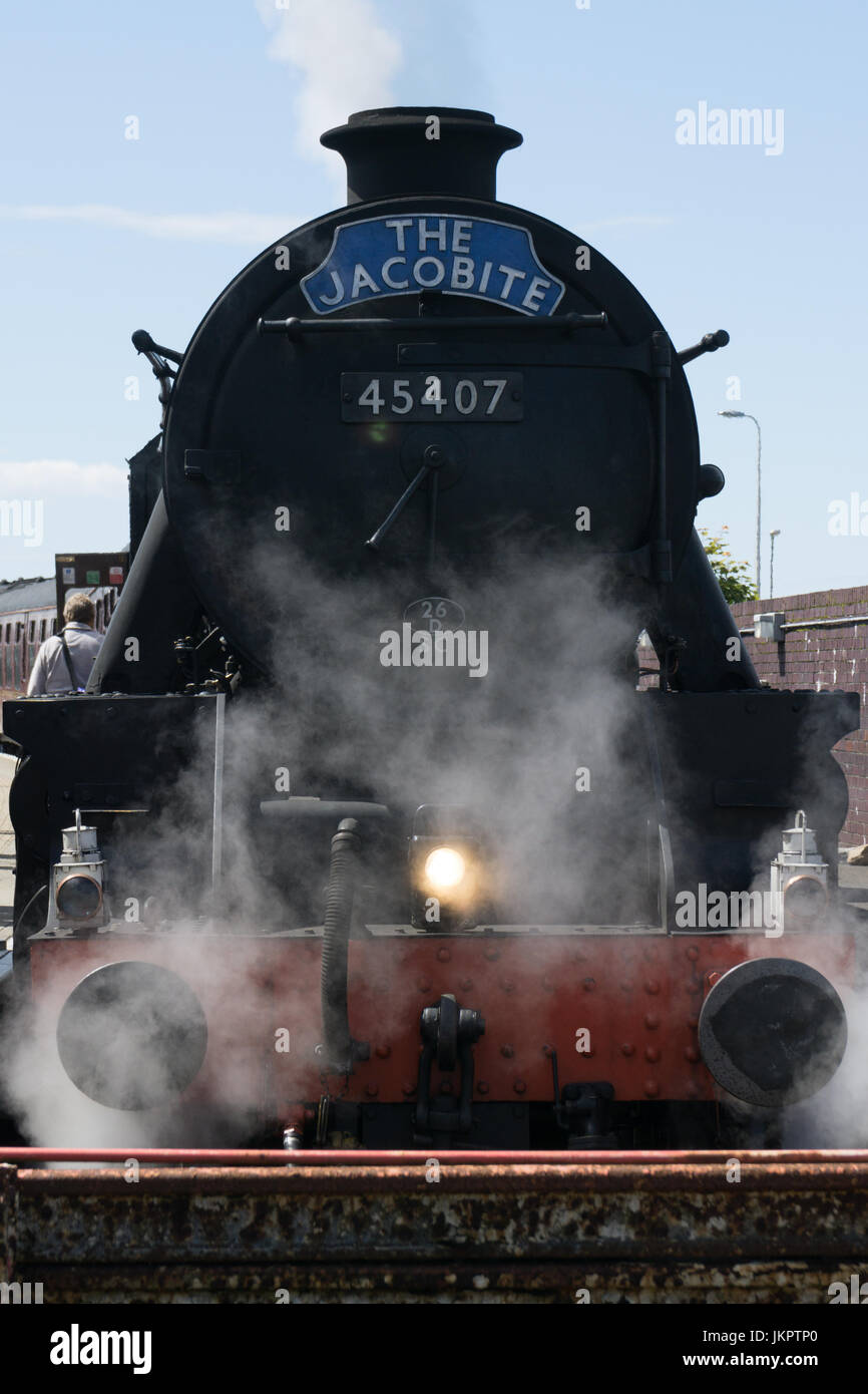 The Jacobite steam train as made famous by the Glenfinnan (Glenfinan) viaduct as seen in the harry potters movies. - Stock Image