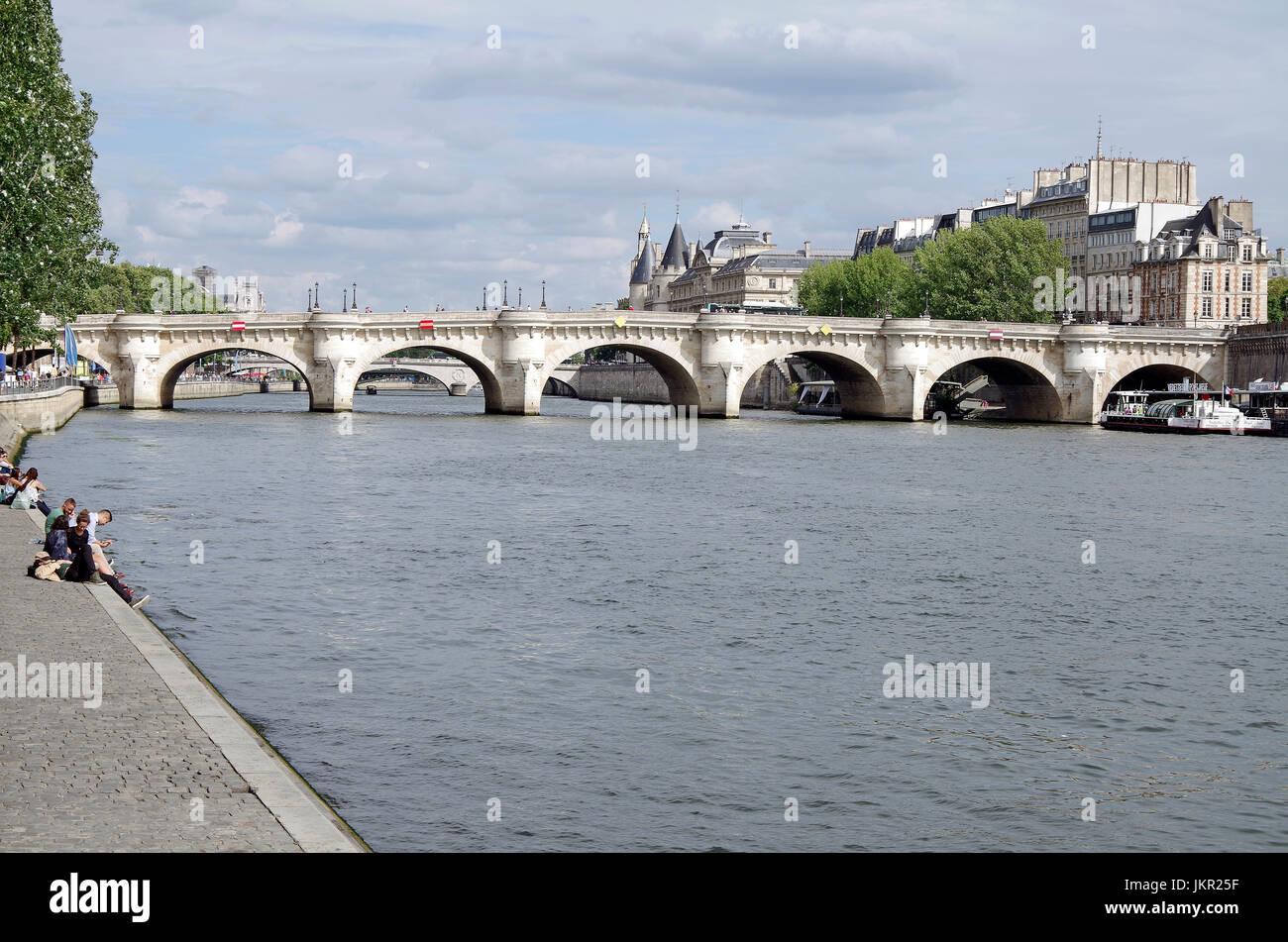 Paris, France, Pont Neuf (New bridge), in fact oldest bridge over Seine in Paris, - Stock Image