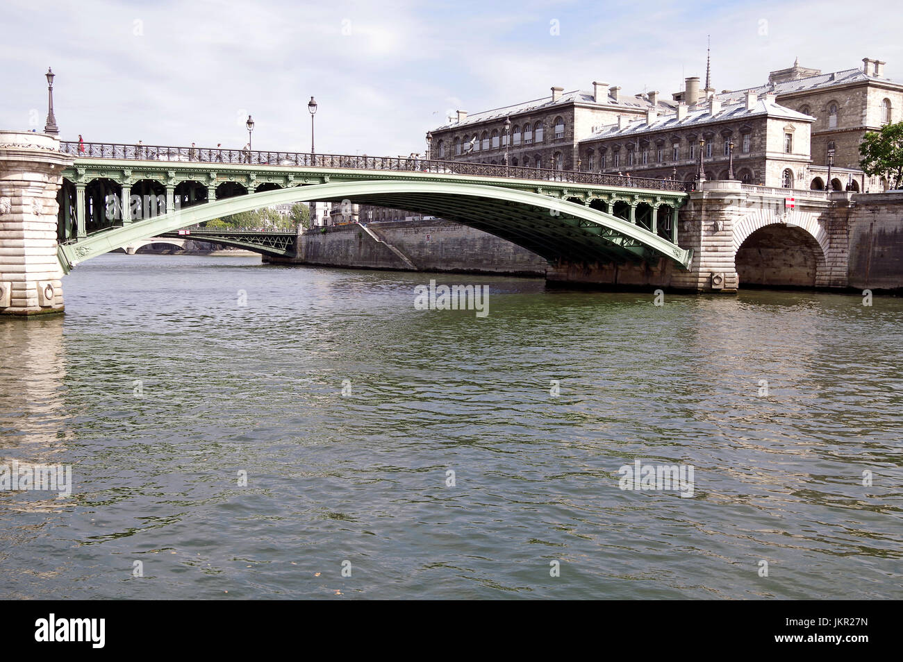Paris, France, Pont Notre Dame, over the river Seine, linking the Right Bank at Quai de Gesvres to Ile de la Cité, - Stock Image