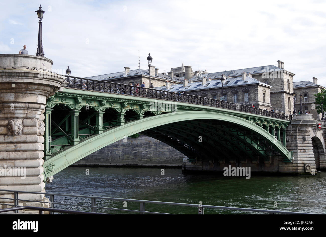 Paris, France, Pont Notre Dame, over the river Seine, linking the Right Bank at Quai de Gesvres to Ile de la Cité, Stock Photo