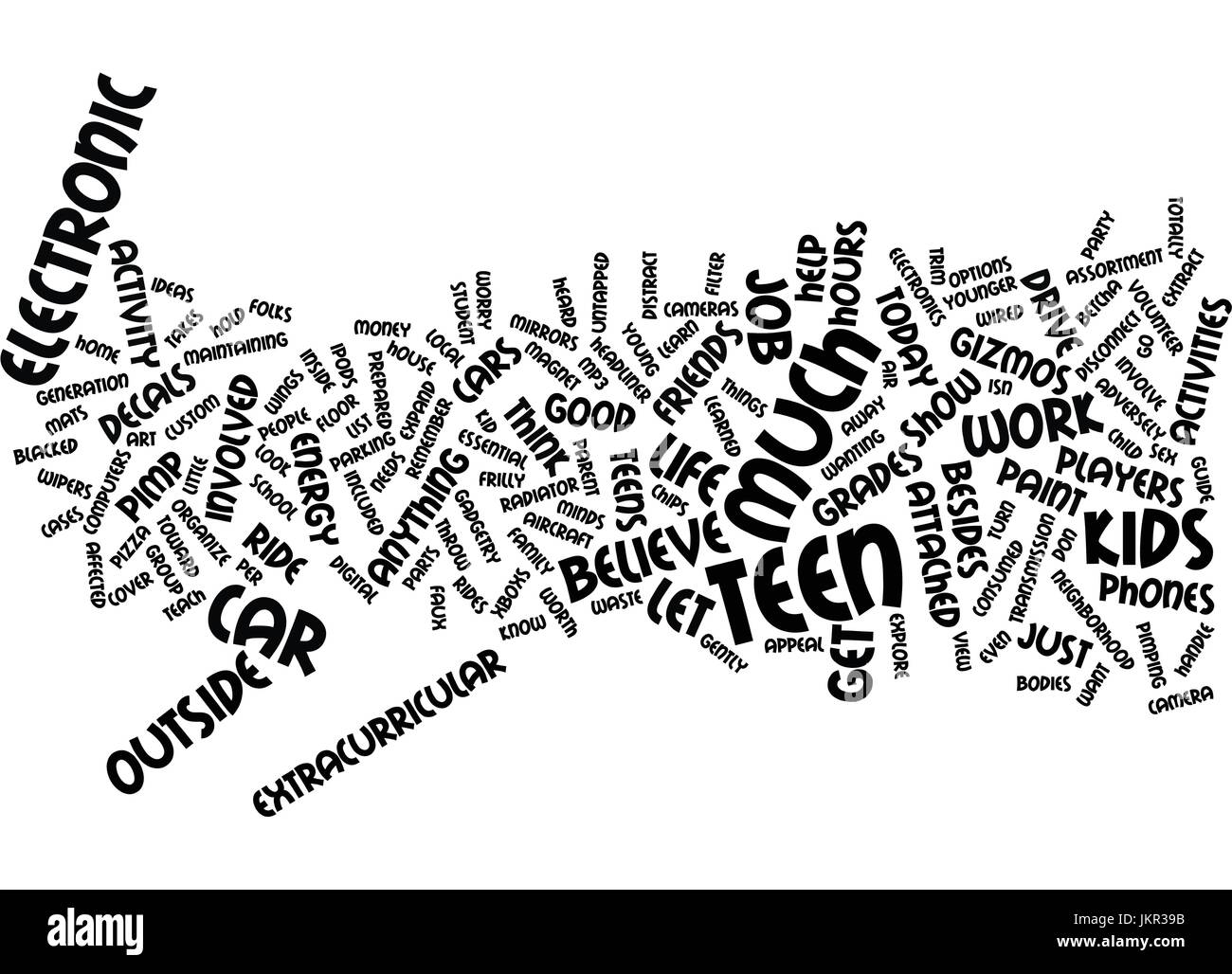 TEENS LIFE V ELECTRONICS Text Background Word Cloud Concept - Stock Image