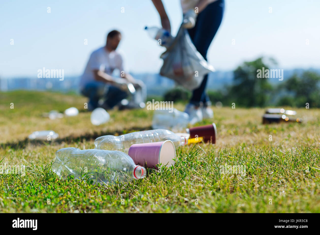 Devoted energetic people collecting litter on a grass - Stock Image