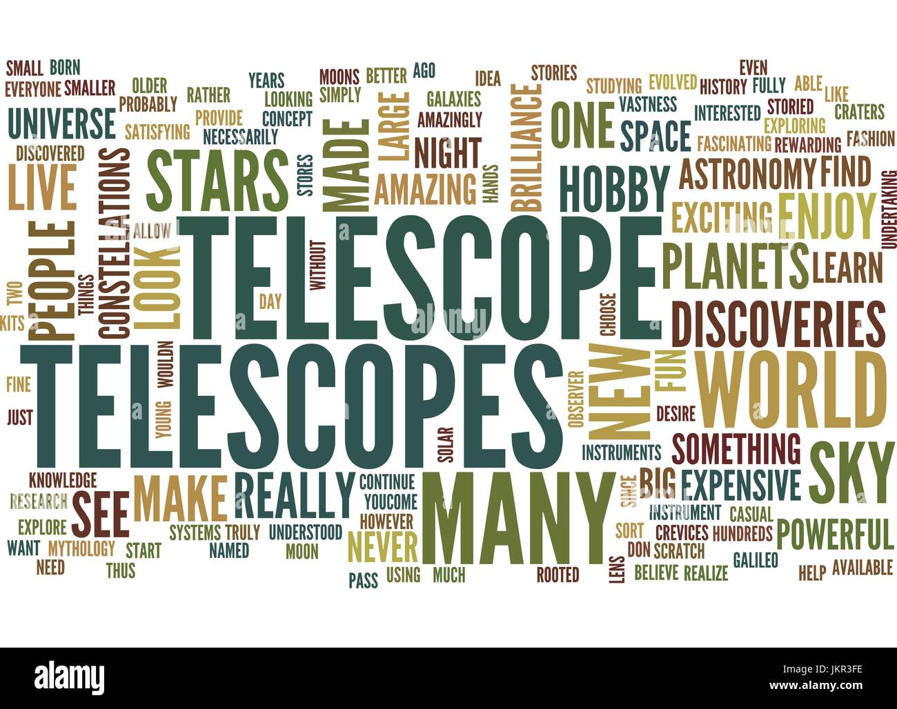 TELESCOPES Text Background Word Cloud Concept - Stock Vector