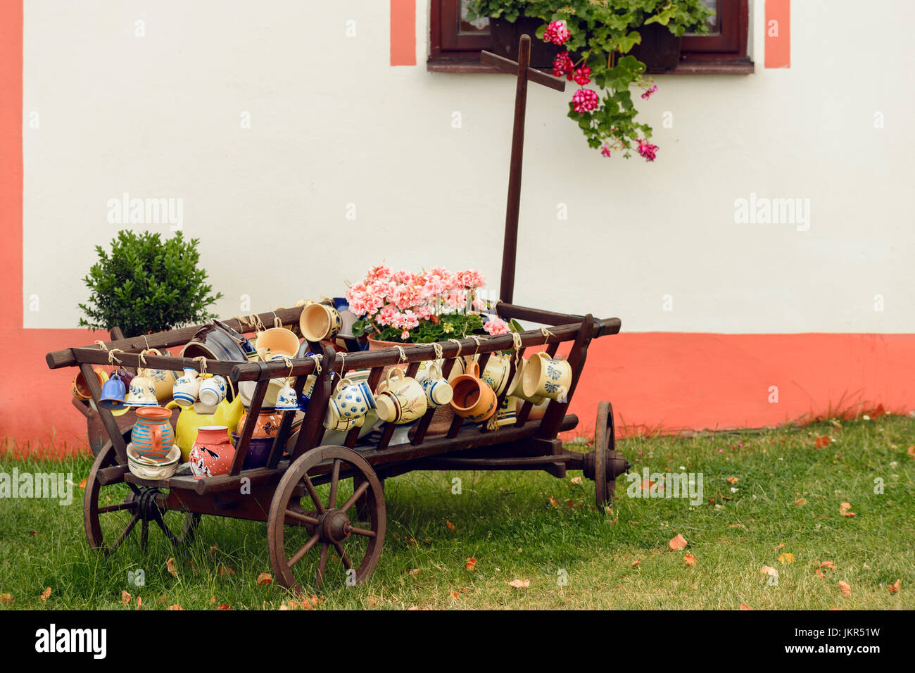 Colorful pottery on display, Holasovice, Czech republic - Stock Image
