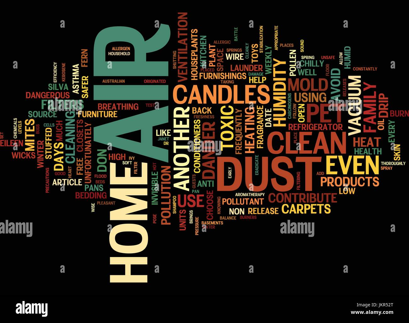 THE AIR OF HOME Text Background Word Cloud Concept - Stock Vector