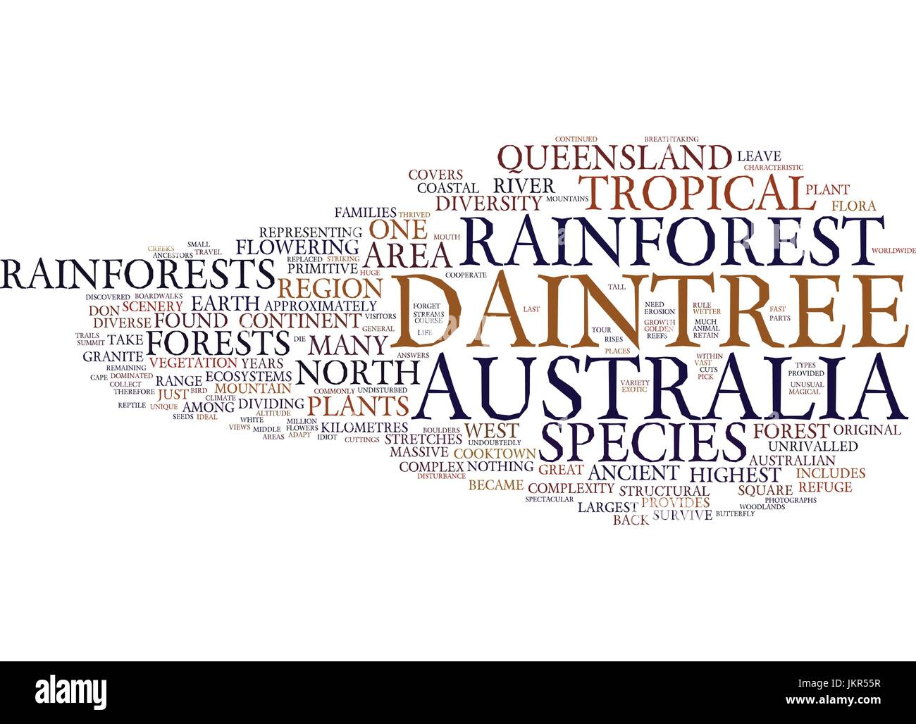 THE ANCIENT BEAUTY OF AUSTRALIA S DAINTREE RAINFOREST Text Background Word Cloud Concept - Stock Vector