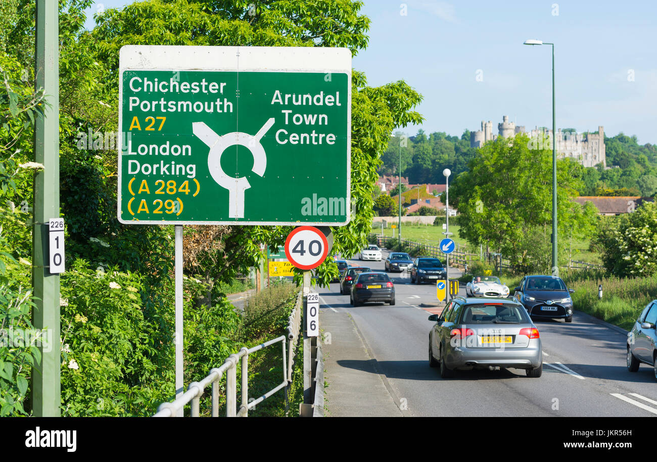 Road sign on a section of the A27 road going through Arundel in West Sussex, England, UK. - Stock Image