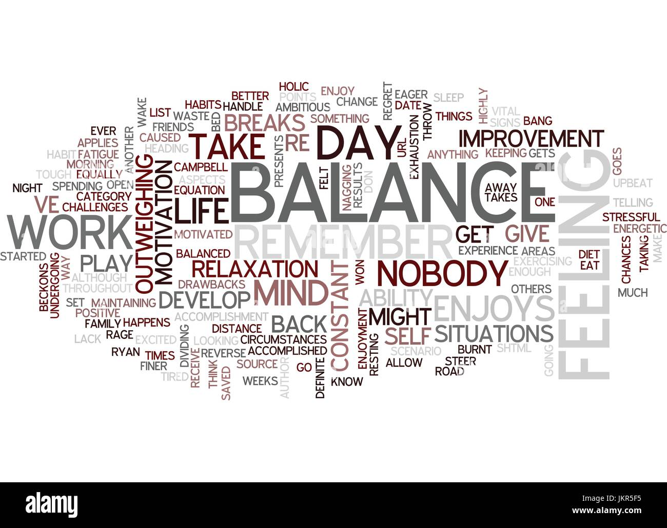 THE BALANCE OF BALANCE Text Background Word Cloud Concept - Stock Vector