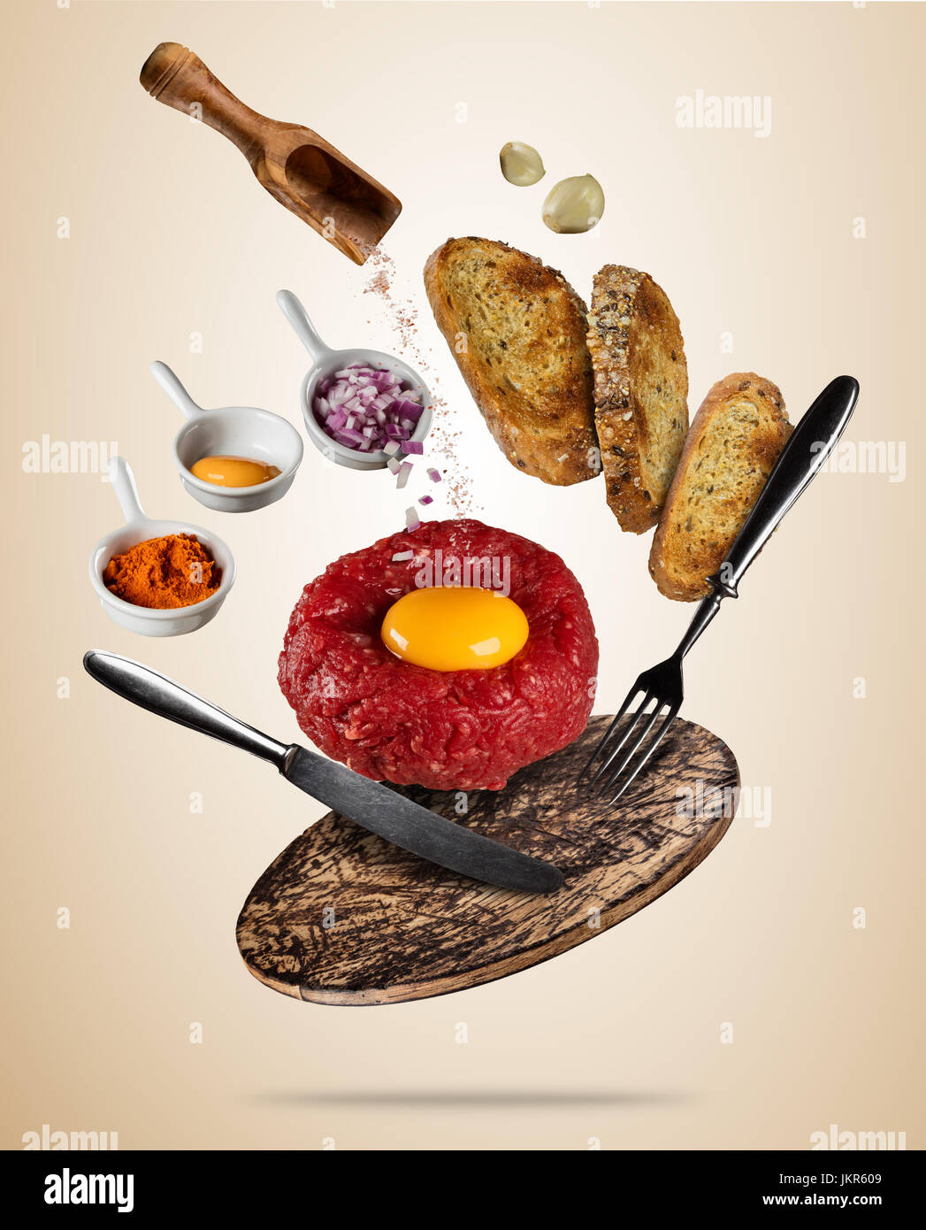 Flying Tartar Steak With Spice And Toasts Concept Of Flying Food In