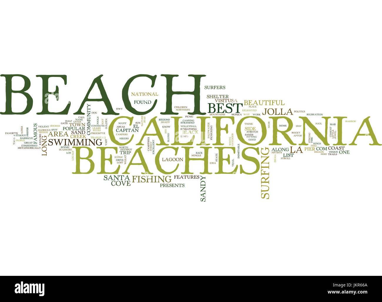 THE BEST BEACHES IN CALIFORNIA Text Background Word Cloud Concept - Stock Vector