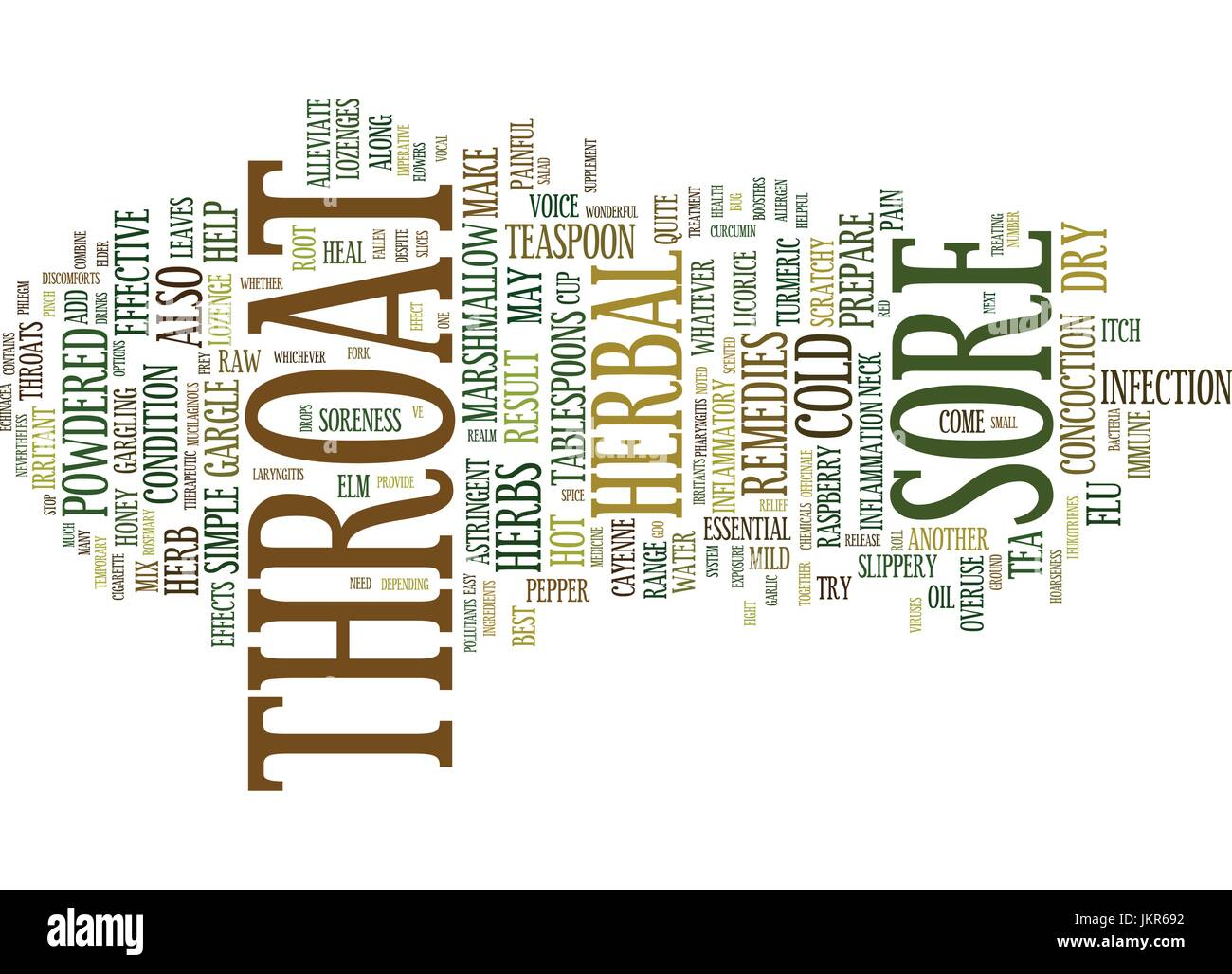 THE BEST HERBAL REMEDIES FOR SORE THROAT AND HOARSENESS Text Background Word Cloud Concept - Stock Vector