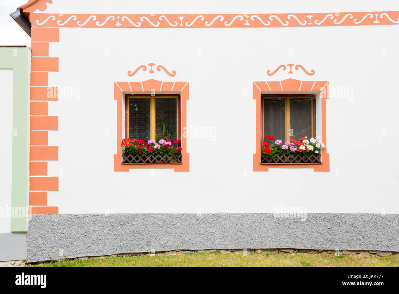 Rural decorated house in Holasovice, Czech Republic. UNESCO World Heritage Site in South Bohemia - Stock Image