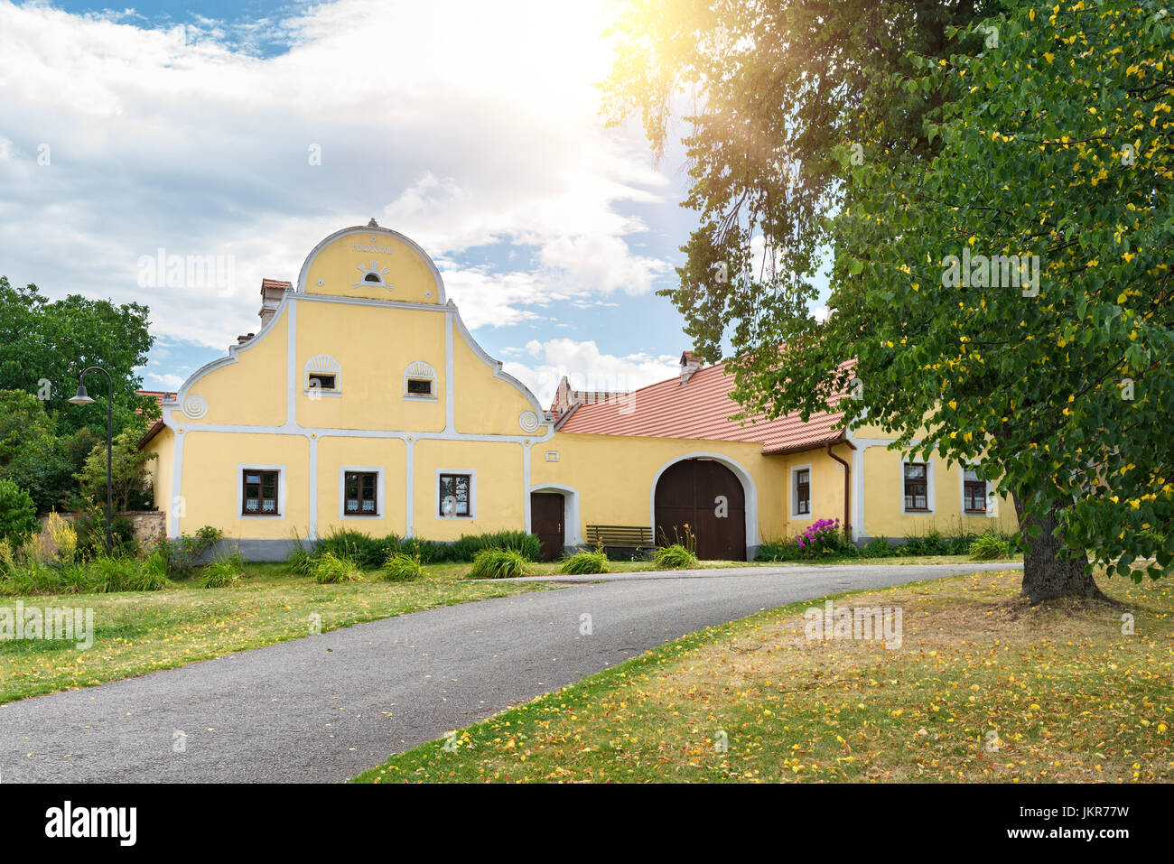 Rural decorated houses in Holasovice, Czech Republic. UNESCO World Heritage Site in South Bohemia - Stock Image