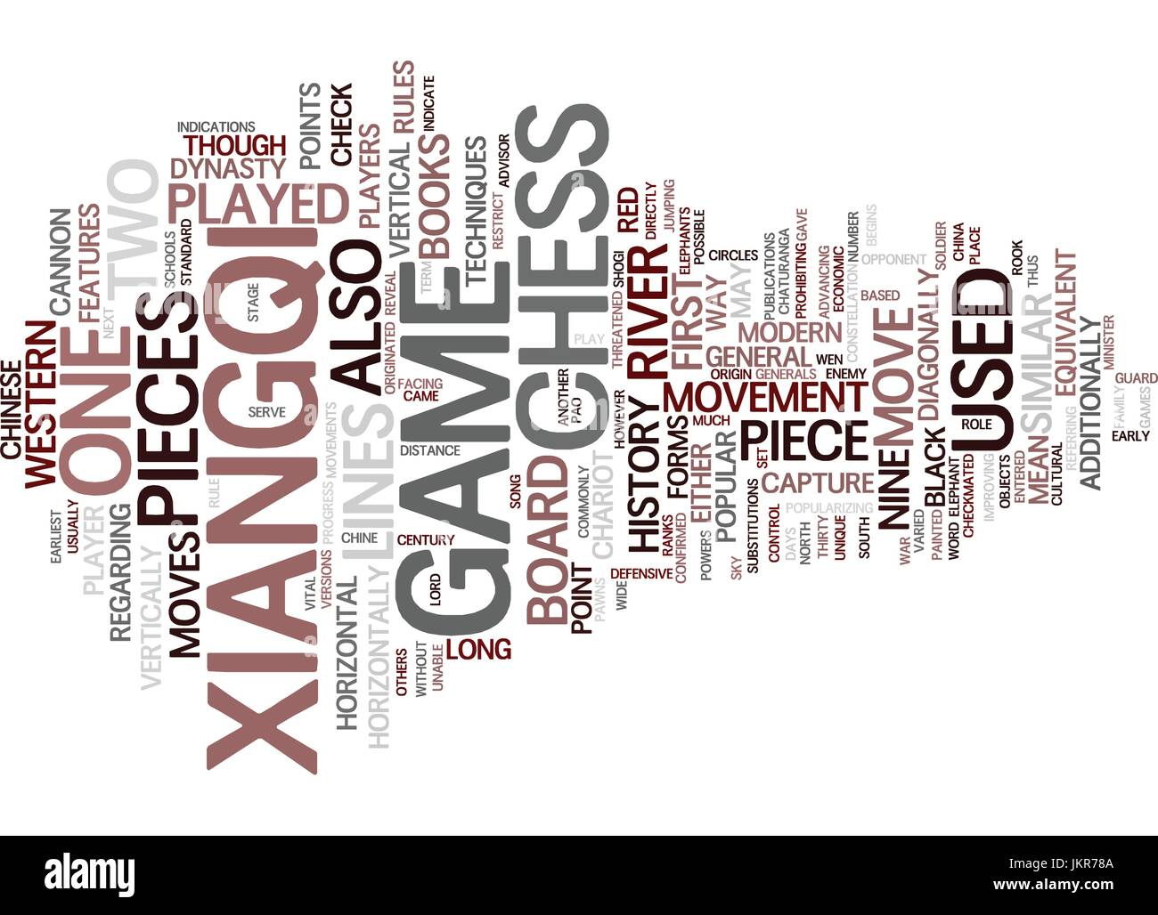 THE CHINESE CHESS XIANGQI Text Background Word Cloud Concept - Stock Image