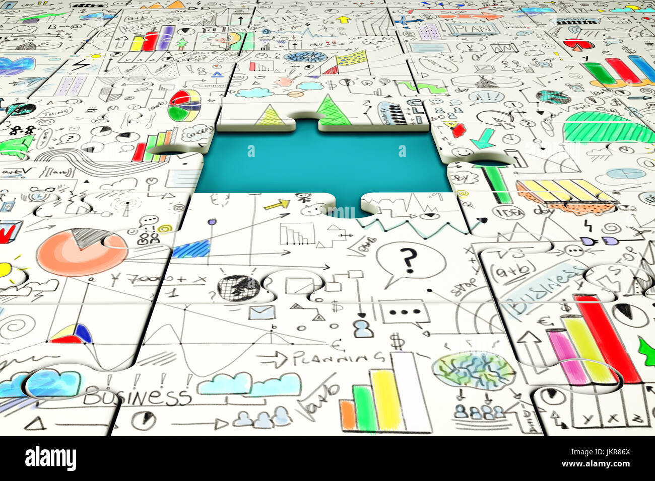 Missing piece of a puzzle with statistics drawn above - Stock Image