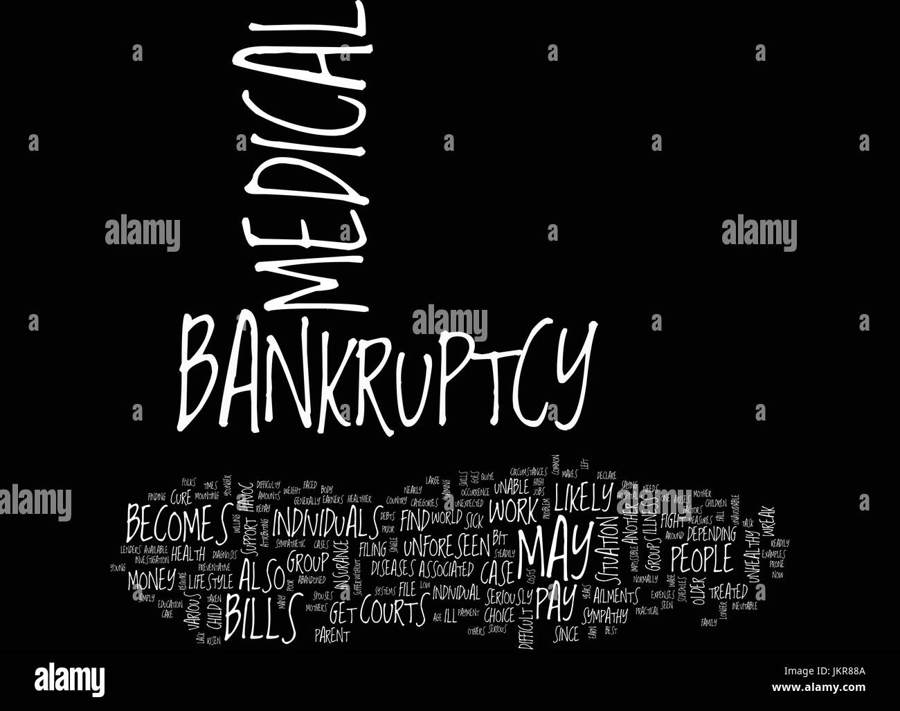 THE DIFFICULTY IN MEDICAL BANKRUPTCY Text Background Word Cloud Concept - Stock Image