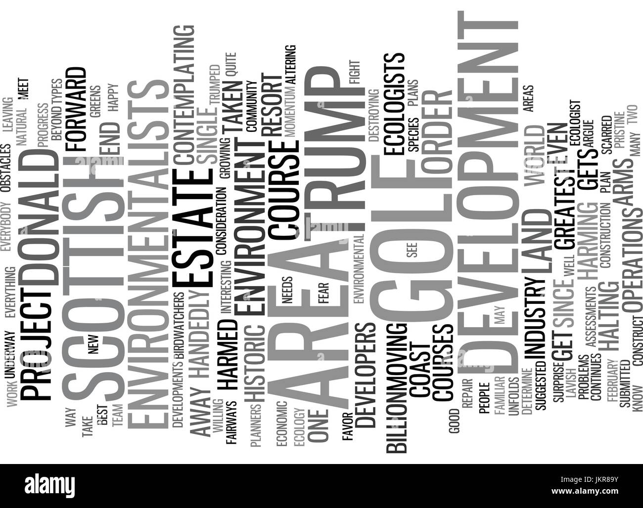 THE DONALD TRUMPED BY A GOLF COURSE Text Background Word Cloud Concept - Stock Vector
