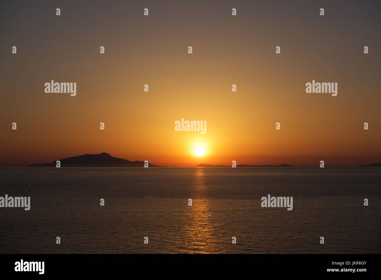 sunset over Ischia - Stock Image
