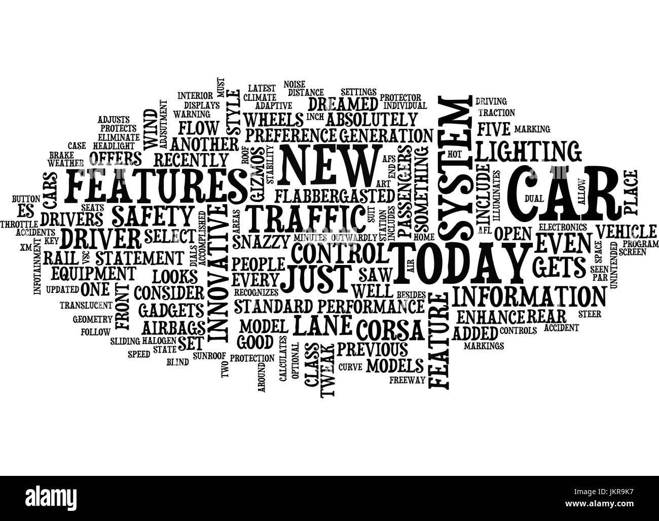 THE LATEST AND GREATEST CAR FEATURES Text Background Word Cloud Concept Stock Vector