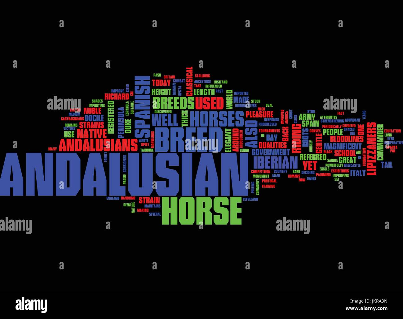 THE MAGNIFICENT ANDALUSIAN Text Background Word Cloud Concept - Stock Image