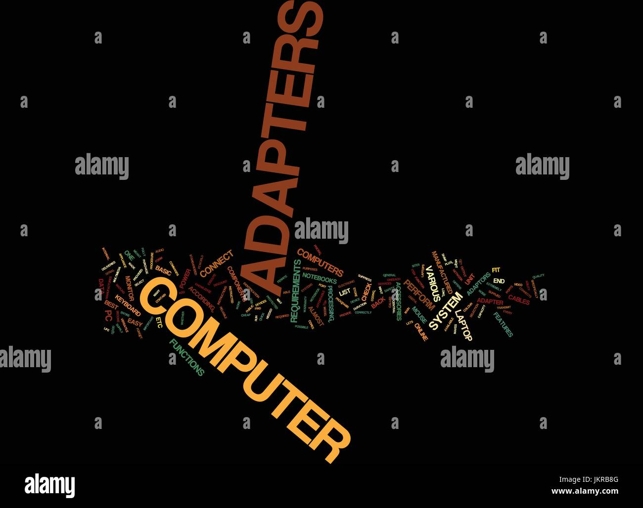 THE NOTEBOOK AND ITS ADAPTORS Text Background Word Cloud Concept - Stock Image