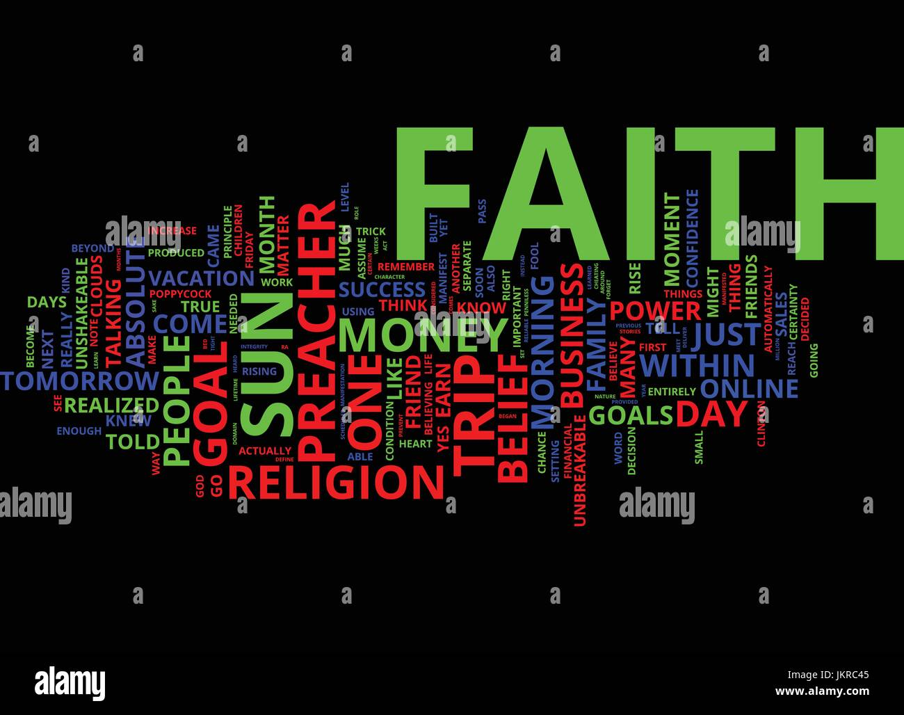 THE POWER OF FAITH IN YOUR ONLINE BUSINESS Text Background Word Cloud Concept Stock Vector