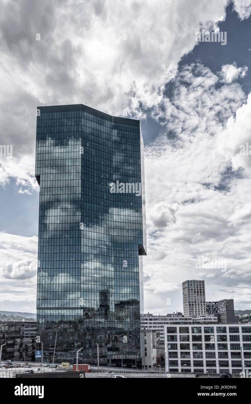 Prime Tower, skycraper, Kreis5,  Zurich, Switzerland - Stock Image