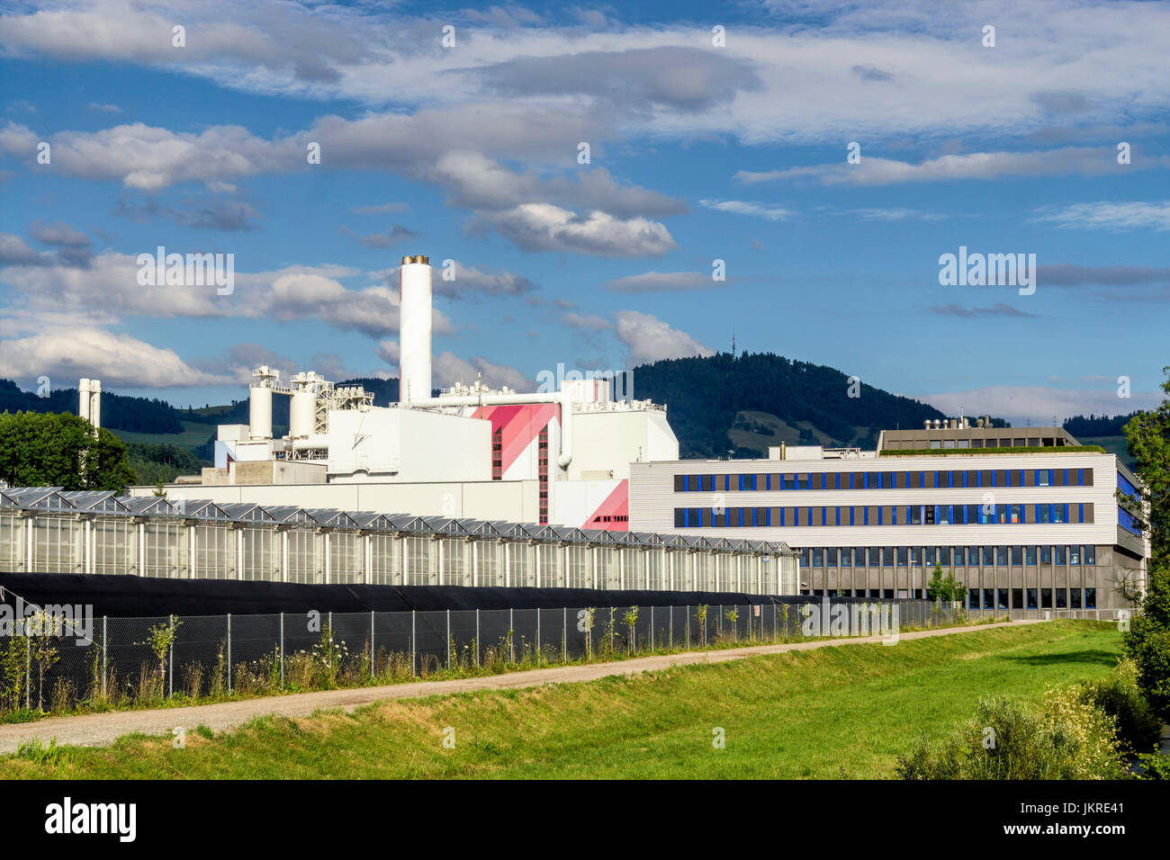 Direct Air Capture of CO2 in Hinwil, CO2 filter, Climaworks startup, KEZO , garbage Incineration, Zurcher Oberland, Stock Photo