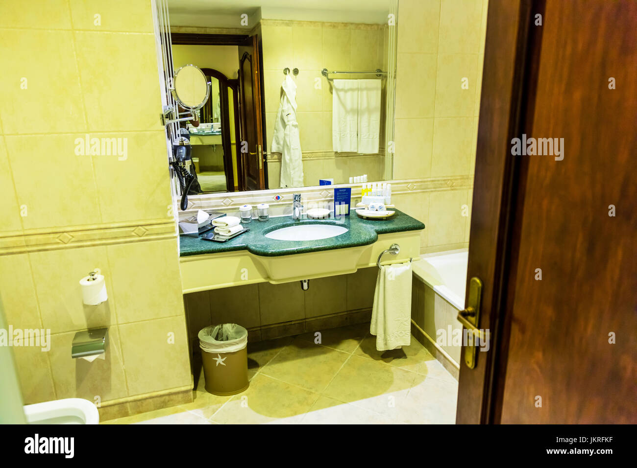 Hotel bathroom, bathroom, bathroom sink, bathroom mirror, hotel bathrooms, bathrooms, large mirror, hotel, hotels, - Stock Image