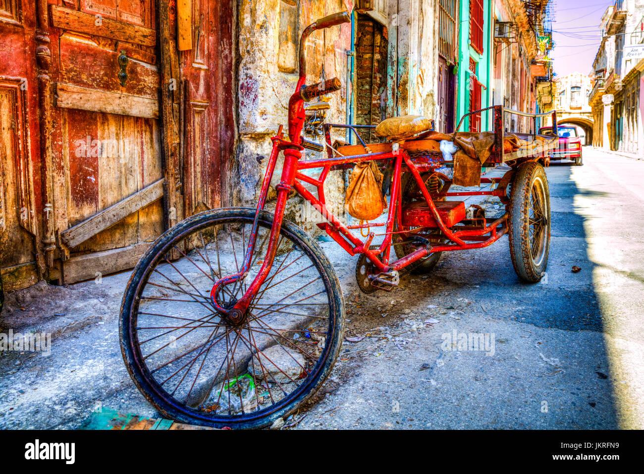 Trike, 3 wheeled bike, three wheeled bike, Cuban transport, poverty in Cuba, cuban poverty, Cuban bike, cuban trike, - Stock Image