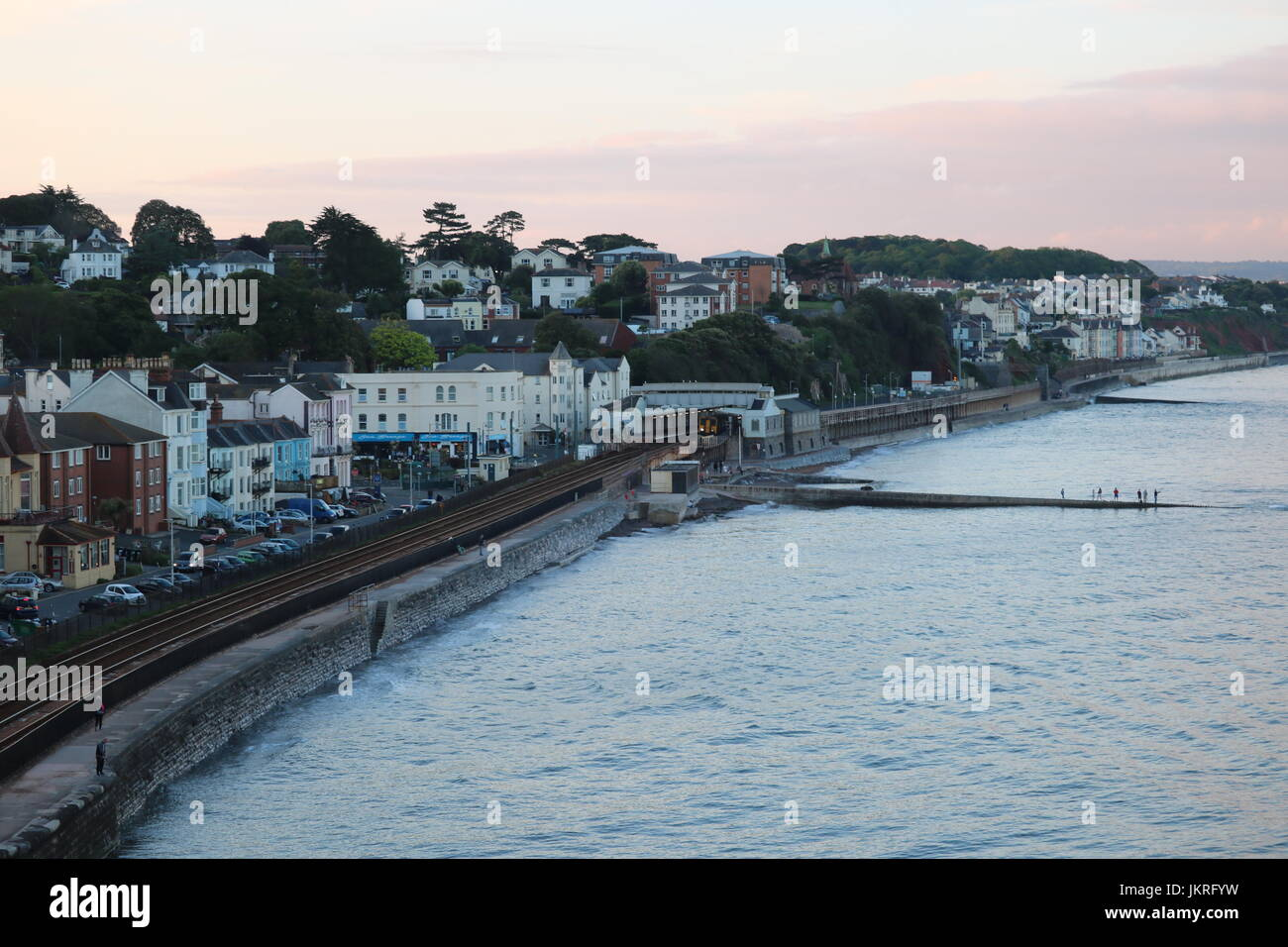 Sunset in Dawlish, UK overlooking the town Stock Photo