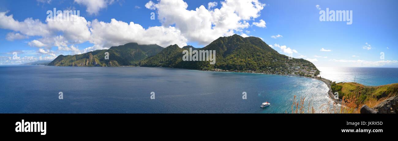 panorama of scotts head, dominica, caribbean - Stock Image