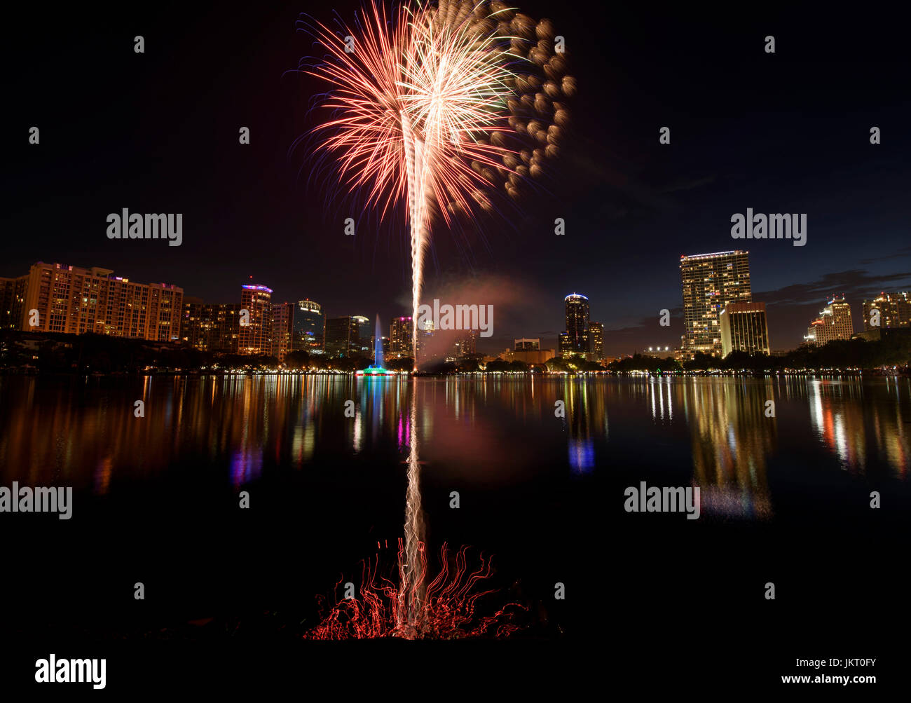 Fourth of July fireworks at Lake Eola Park in downtown Orlando, Florida. Stock Photo