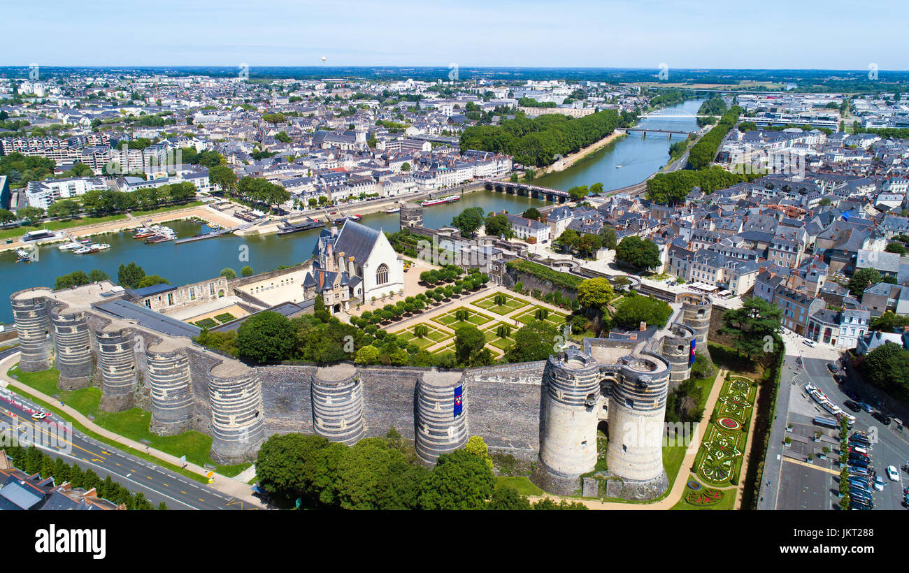 aerial view of angers city castle in maine et loire france stock photo 149890056 alamy. Black Bedroom Furniture Sets. Home Design Ideas