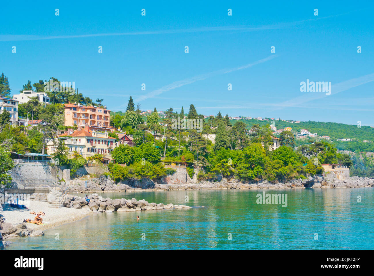 Plaza Crnikovica, beach, Volosko, a district of Opatija, Kvarner Bay, Croatia - Stock Image