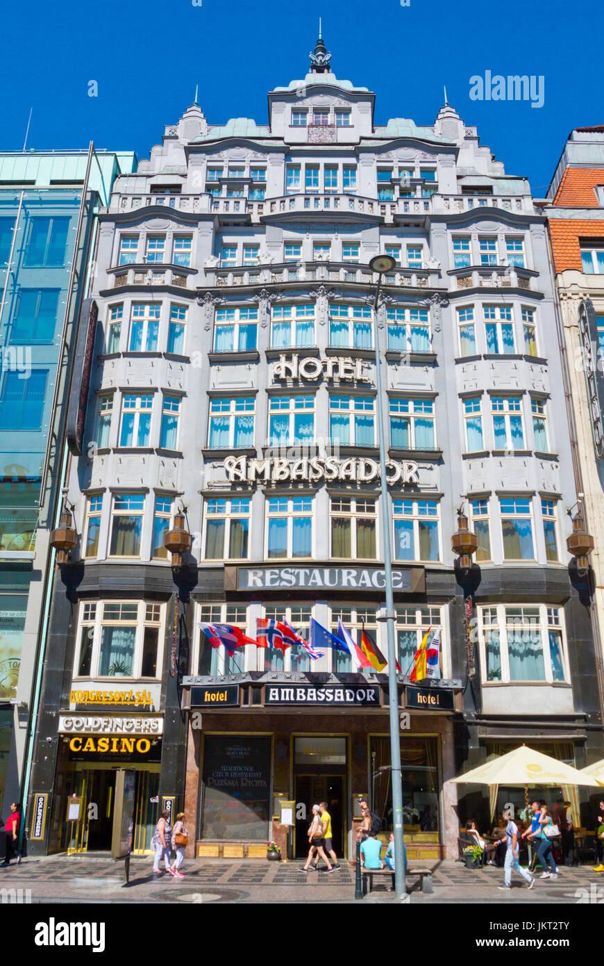 Hotel Ambassador, Vaclavske namesti, Wenceslas square, new town, Prague, Czech Republic - Stock Image