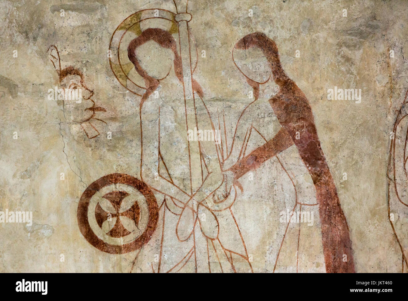 Danish medieval religious fresco from the 14th century in the Romanesque style Oerslev Church depicting the flogging - Stock Image